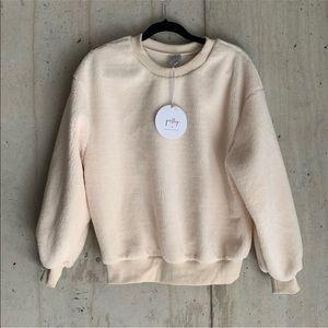Cream Crew Neck Fleece Sweatshirt